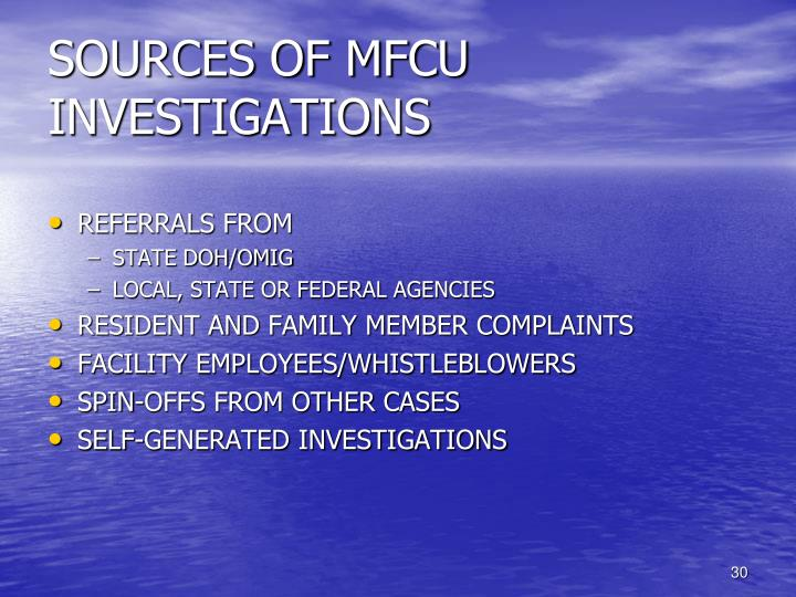 SOURCES OF MFCU INVESTIGATIONS