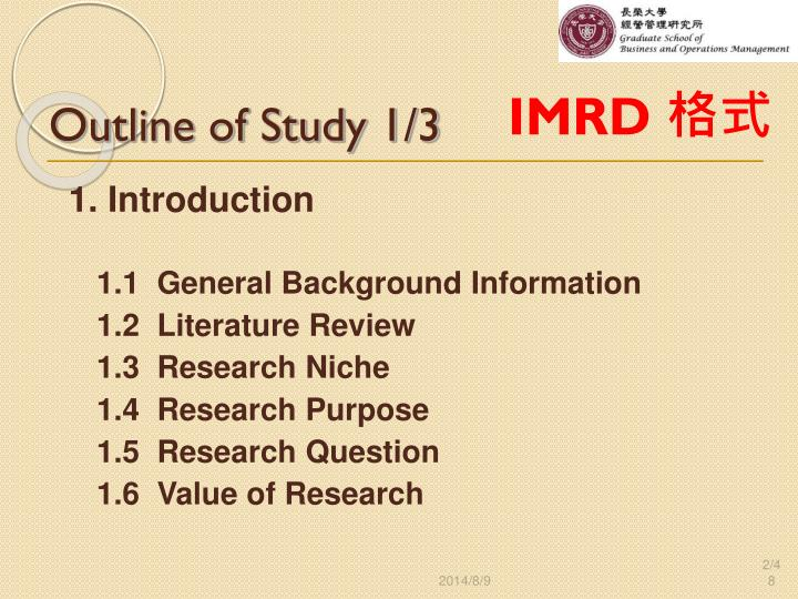 Outline of Study 1/3