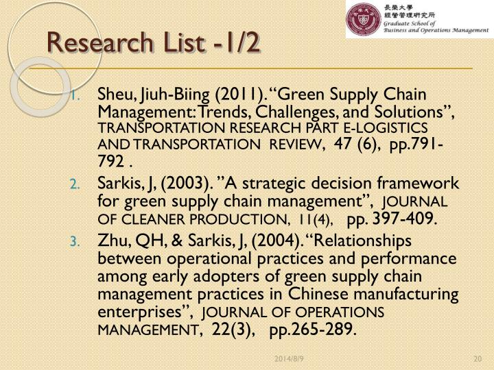 Research List -1/2