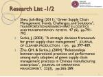 research list 1 2