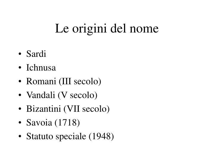 Le origini del nome