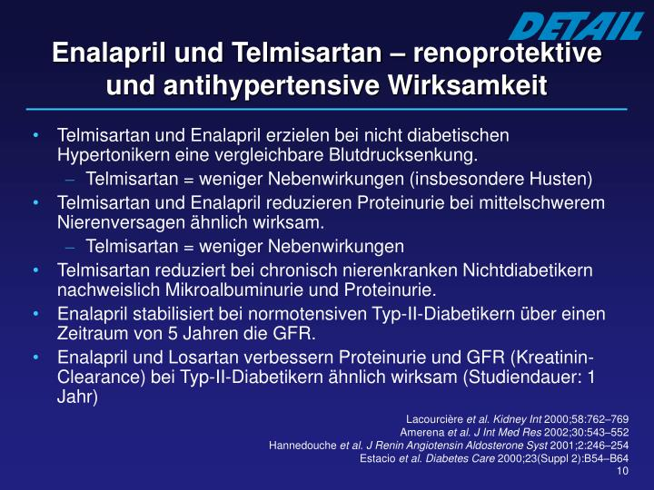 Enalapril und Telmisartan – renoprotektive und antihypertensive Wirksamkeit