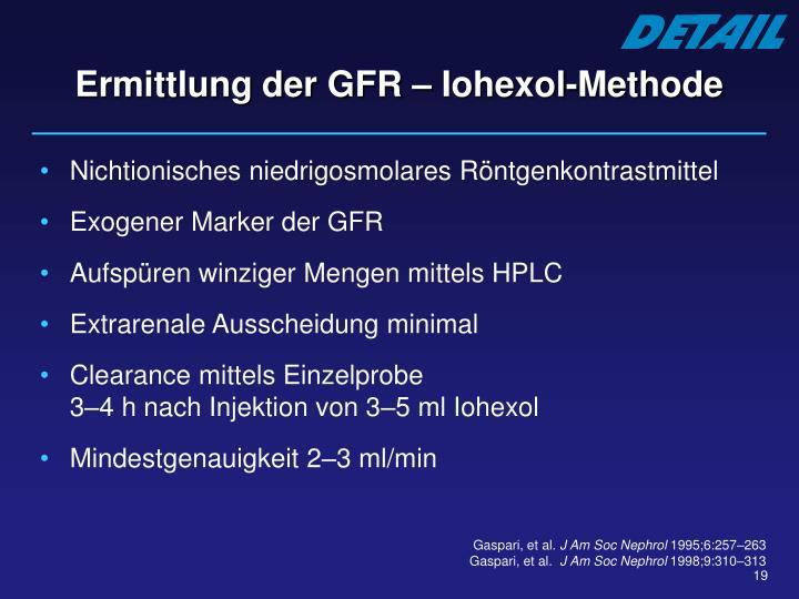 Ermittlung der GFR – Iohexol-Methode