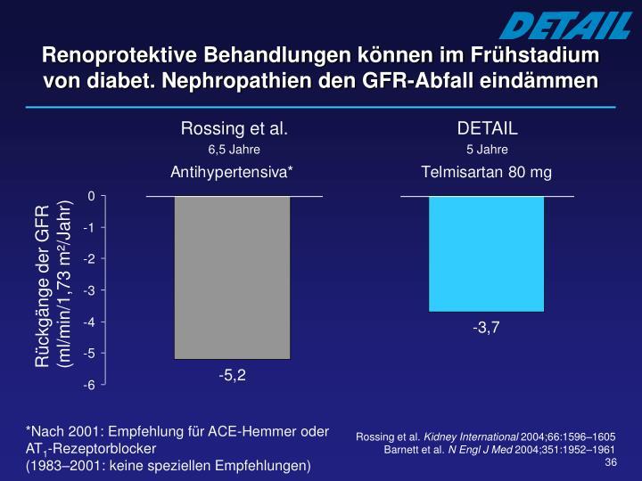 Renoprotektive Behandlungen können im Frühstadium von diabet. Nephropathien den GFR-Abfall eindämmen