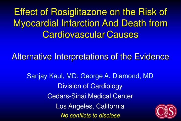 Effect of Rosiglitazone on the Risk of Myocardial Infarction And Death from Cardiovascular