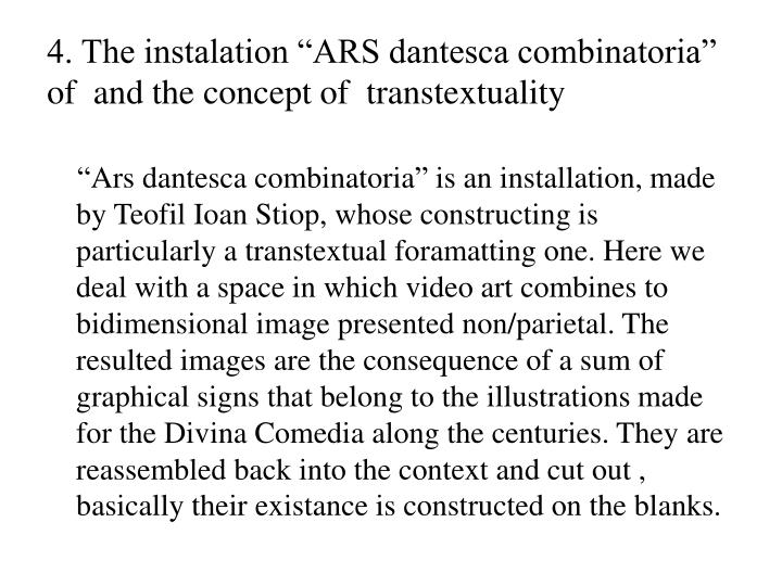 "4. The instalation ""ARS dantesca combinatoria"""
