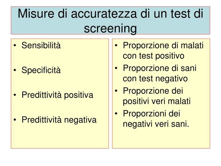 Misure di accuratezza di un test di screening