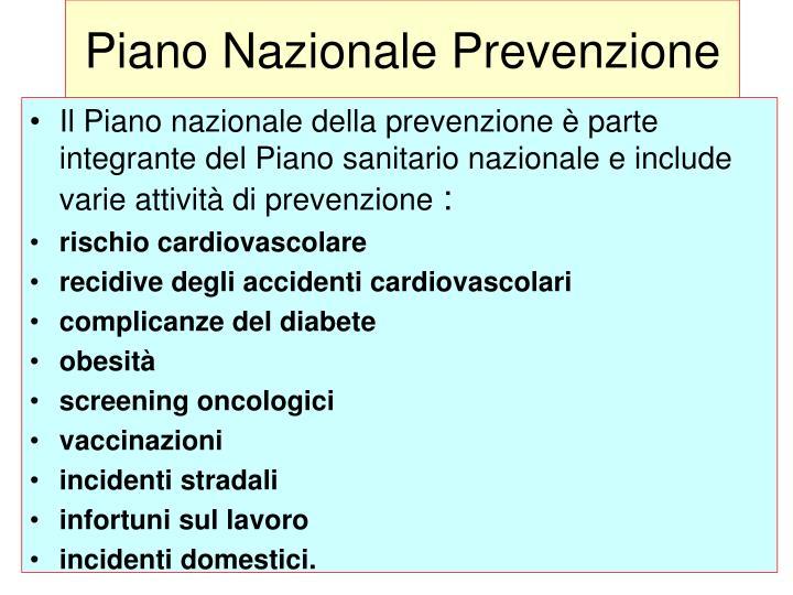 Piano Nazionale Prevenzione