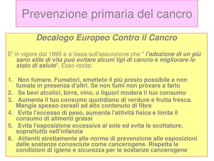 Prevenzione primaria del cancro