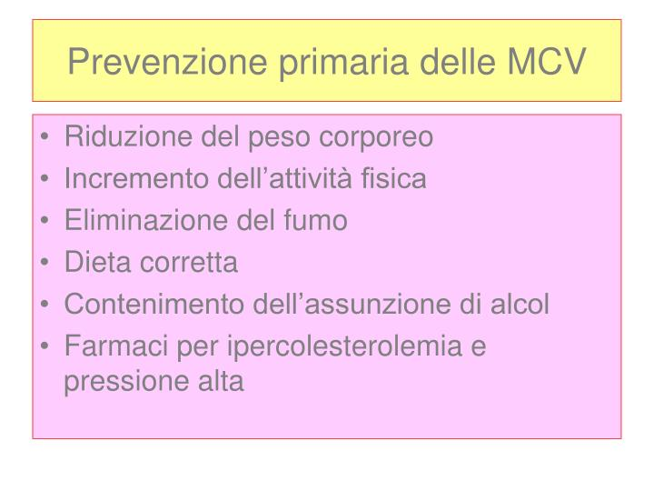 Prevenzione primaria delle MCV