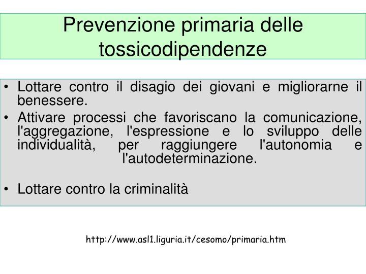 Prevenzione primaria delle tossicodipendenze