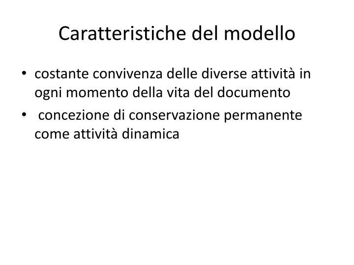 Caratteristiche del modello