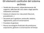 gli elementi costitutivi del sistema archivio