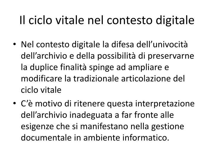 Il ciclo vitale nel contesto digitale
