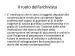 il ruolo dell archivista