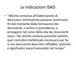 le indicazioni isad