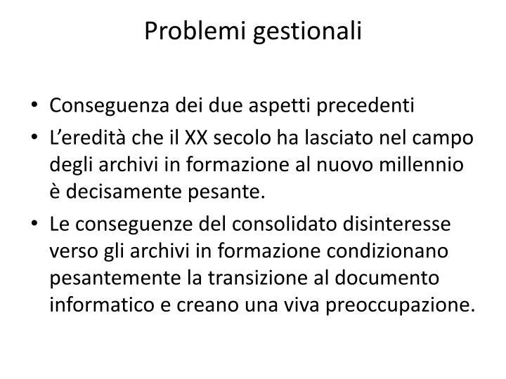 Problemi gestionali