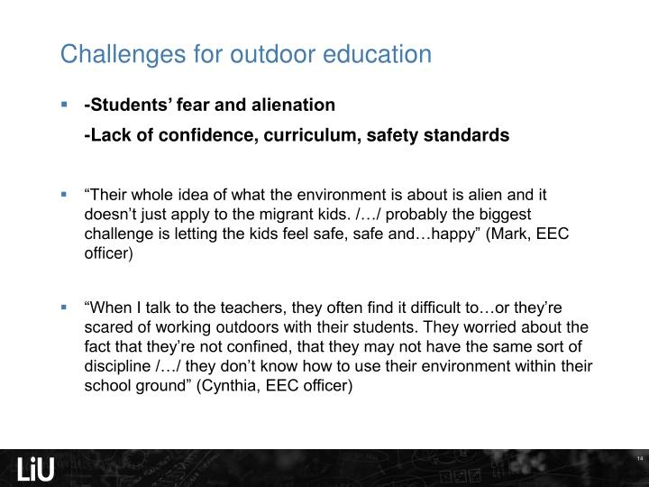 Challenges for outdoor education