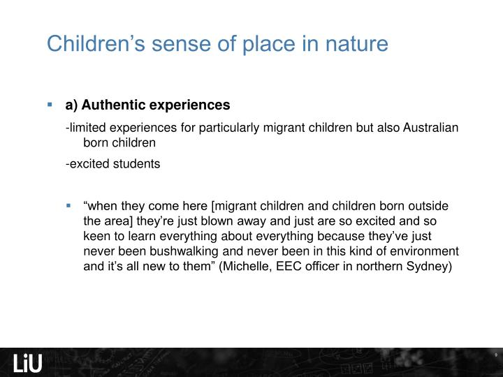 Children's sense of place in nature