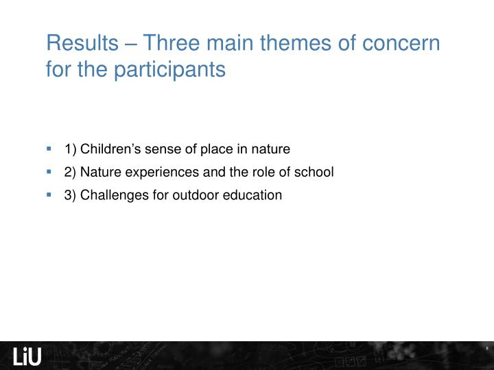 Results – Three main themes of concern for the participants