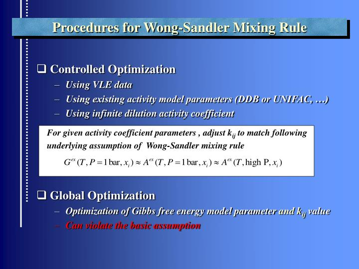 Procedures for Wong-Sandler Mixing Rule