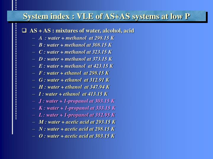 System index : VLE of AS+AS systems at low P