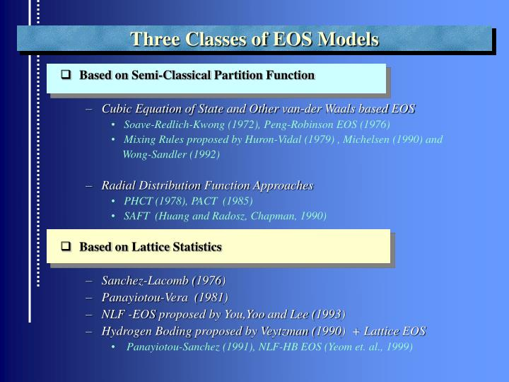 Three Classes of EOS Models