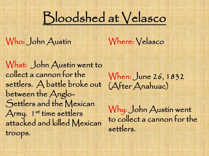 Bloodshed at Velasco