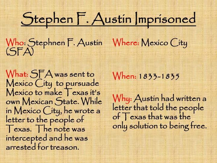 Stephen F. Austin Imprisoned