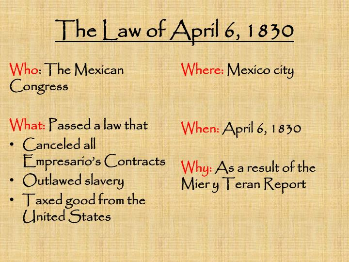The Law of April 6, 1830