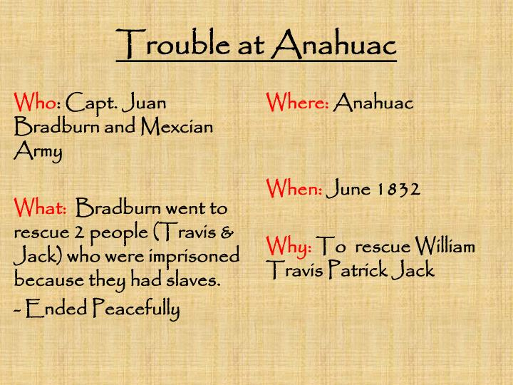 Trouble at Anahuac