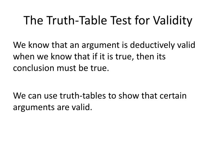 The Truth-Table Test for Validity