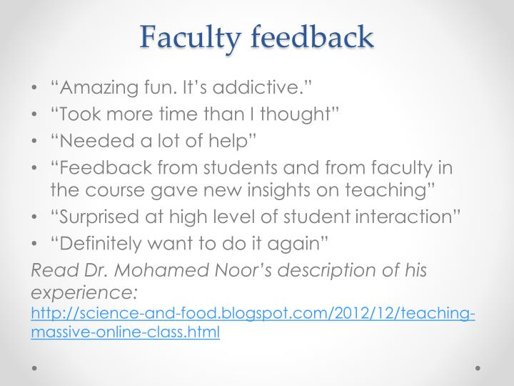Faculty feedback