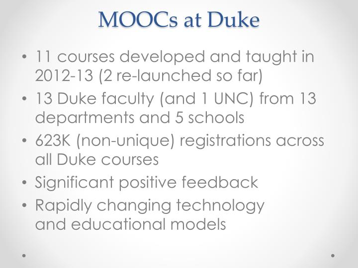 MOOCs at Duke