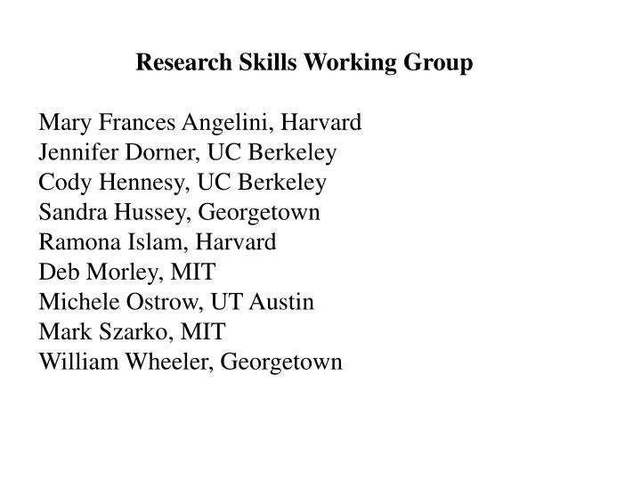 Research Skills Working Group