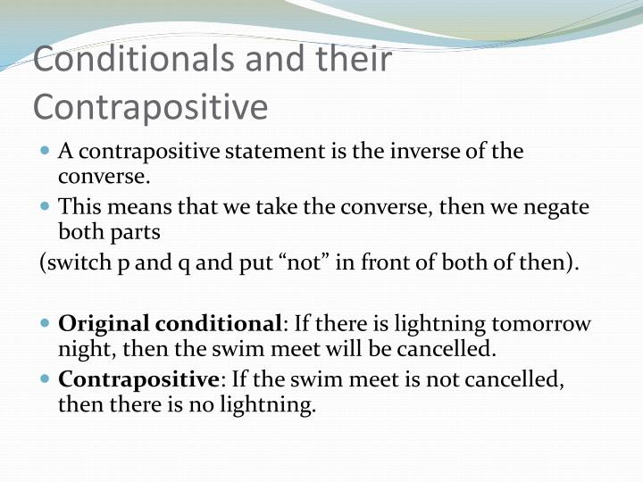 Conditionals and their Contrapositive