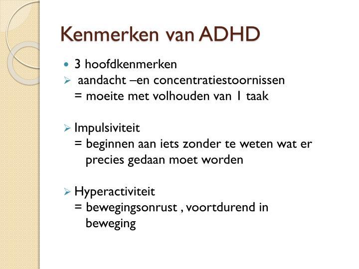 Kenmerken van ADHD
