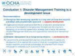 conclusion 1 disaster management training is a development issue