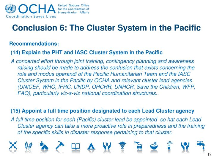 Conclusion 6: The Cluster System in the Pacific