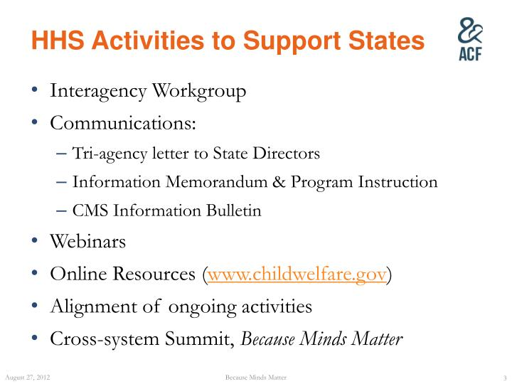 HHS Activities to Support States