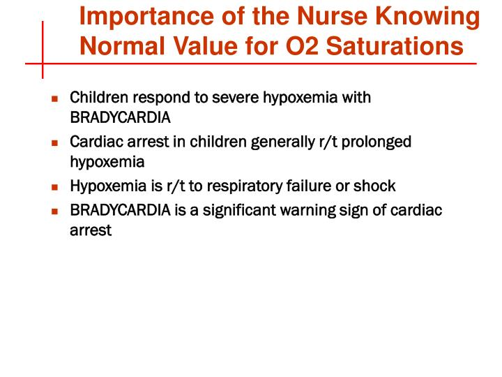 Importance of the Nurse Knowing Normal Value for O2 Saturations