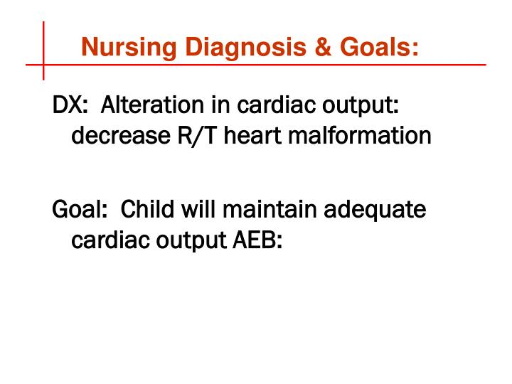 Nursing Diagnosis & Goals: