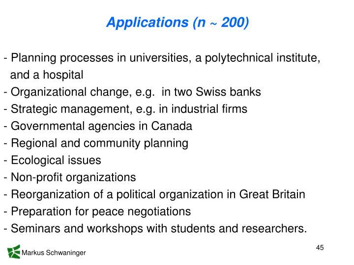 Applications (n ~ 200)