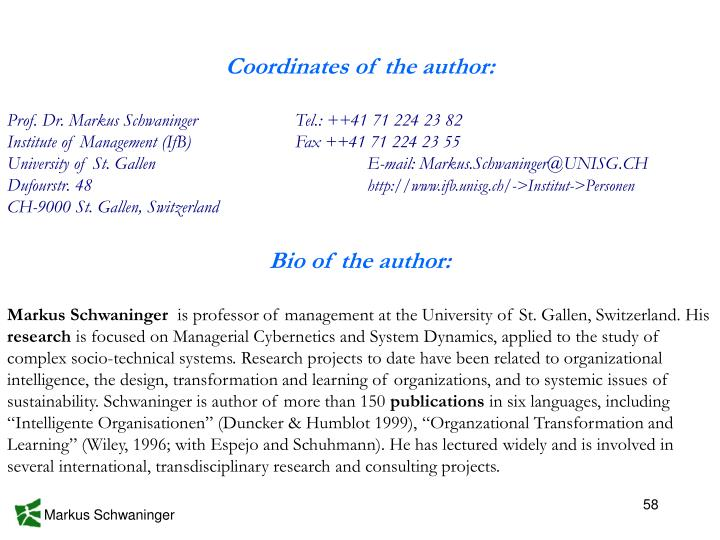 Coordinates of the author: