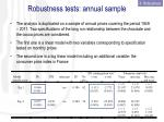 robustness tests annual sample