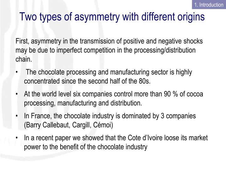 Two types of asymmetry with different origins