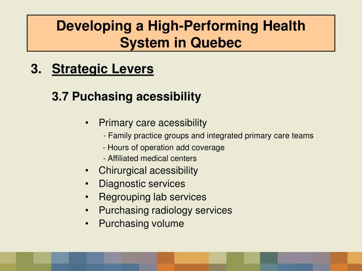 Developing a High-Performing Health System in Quebec