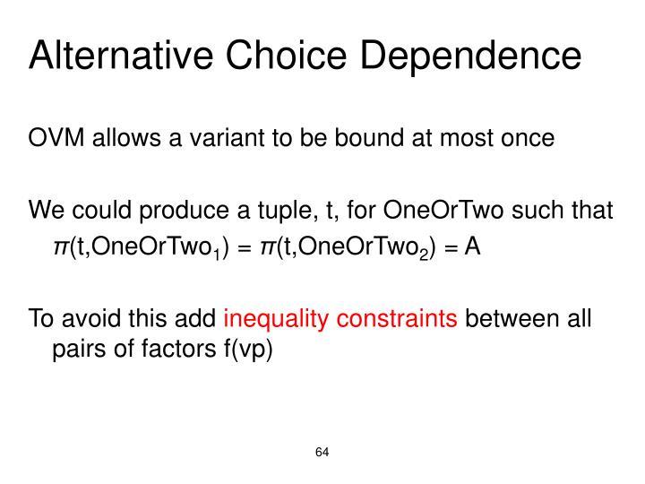 Alternative Choice Dependence