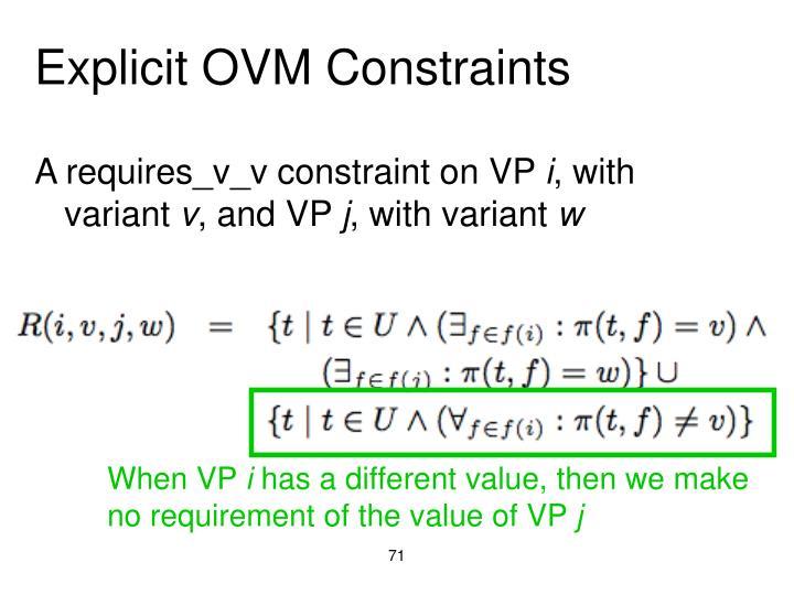 Explicit OVM Constraints