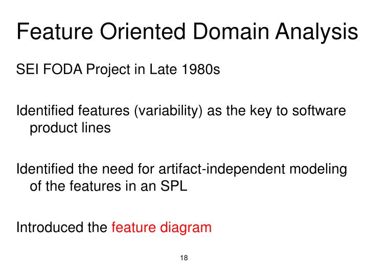 Feature Oriented Domain Analysis